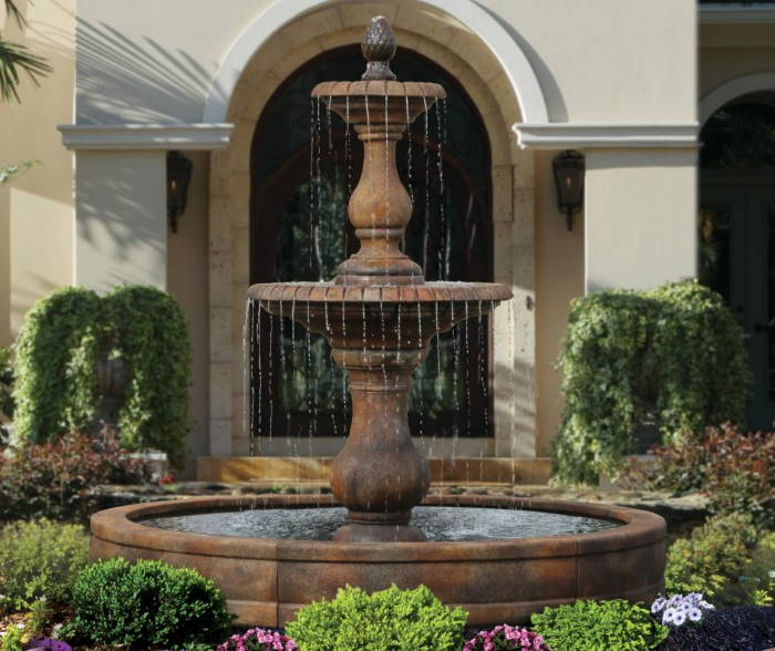 Two Tier Hampton Fountain with Surround and 8′ Pool
